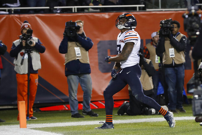 Chicago Bears' Anthony Miller celebrates a touchdown reception during the second half of an NFL football game against the Dallas Cowboys, Thursday, Dec. 5, 2019, in Chicago. (AP Photo/Charles Rex Arbogast)