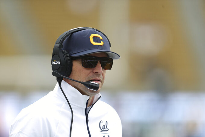 California head coach Justin Wilcox looks on against Sacramento State during the first half of an NCAA college football game on Saturday, Sept. 18, 2021, in Berkeley, Calif. (AP Photo/Jed Jacobsohn)