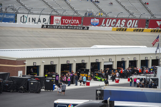 The new garage area is viewed before the Drydene 400 - Monster Energy NASCAR Cup Series playoff auto race, Sunday, Oct. 6, 2019, at Dover International Speedway in Dover, Del. (AP Photo/Jason Minto)