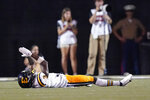East Tennessee State defensive back Tyree Robinson (3) celebrates after East Tennessee State scored a touchdown against Vanderbilt on a pass interception in the second half of an NCAA college football game Saturday, Sept. 4, 2021, in Nashville, Tenn. (AP Photo/Mark Humphrey)