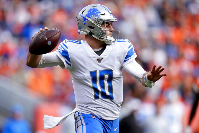 Detroit Lions quarterback David Blough (10) throws against the Denver Broncos during the first half of an NFL football game, Sunday, Dec. 22, 2019, in Denver. (AP Photo/Jack Dempsey)