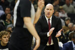 Chicago Bulls head coach Jim Boylen yells from the sideline during the first half of an NBA basketball game against the Milwaukee Bucks Monday, Jan. 20, 2020, in Milwaukee. (AP Photo/Aaron Gash)