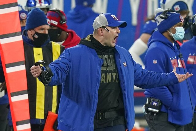 New York Giants head coach Joe Judge reacts during the second half of an NFL football game against the Cleveland Browns, Sunday, Dec. 20, 2020, in East Rutherford, N.J. The Browns won 20-6. (AP Photo/Seth Wenig)