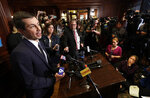 Democratic presidential candidate South Bend. Ind., Mayor Pete Buttigieg talks with reporters after addressing the City Club of Chicago Thursday, May 16, 2019, in Chicago. (AP Photo/Charles Rex Arbogast)