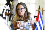Canada's Foreign Minister Chrystia Freeland speaks with Cuba's foreign minister during a meeting in Havana, Cuba, May 16, 2019. Freeland's office says the purpose of the visit is