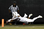 Stanford running back Austin Jones (20) dives for the goal line after running the ball against Vanderbilt in the first half of an NCAA college football game Saturday, Sept. 18, 2021, in Nashville, Tenn. The ball was placed at the 1-yard line. (AP Photo/Mark Zaleski)