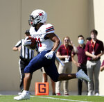 Richmond's Savon Smith (31) scores a 16 yard touchdown in the first half of the Richmond Virginia Tech NCAA college football game in Blacksburg, Va., Saturday, Sept. 25 2021. (Matt Gentry/The Roanoke Times via AP)