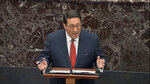 In this image from video, President Donald Trump's personal attorney Jay Sekulow speaks during the impeachment trial against President Donald Trump in the Senate at the U.S. Capitol in Washington, Tuesday, Jan. 21, 2020. (Senate Television via AP)