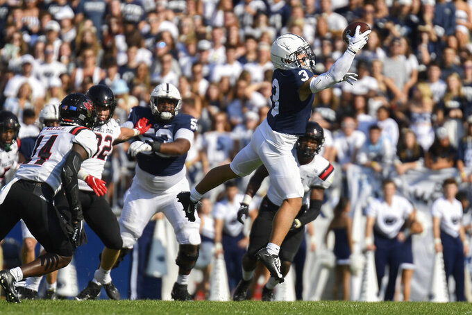 Penn State wide receiver Parker Washington (3) catches a pass in the second quarter against Ball State during an NCAA college football game in State College, Pa., Saturday, Sept. 11, 2021. (AP Photo/Barry Reeger)