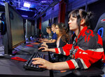 "In this photo taken on Sept. 17, 2019, Ellis Celia and other students starting Staffordshire University's esports degree course play ""Counter-Strike"" in the school's new London digital studio. A number of U.K. and U.S. universities are launching degrees in esports, or competitive multiplayer videogaming, to capitalize on the booming industry's growing demand for skilled professionals. (AP Photo/Kelvin Chang)"