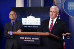 FIULE - In this April 13, 2020, file photo, Dr. Anthony Fauci, director of the National Institute of Allergy and Infectious Diseases, listens as Vice President Mike Pence speaks about the coronavirus in the James Brady Press Briefing Room at the White House in Washington. The commissioners of the major college football conferences held a 30-minute conference call Wednesday, April 15, 2020, with Vice President Mike Pence and stressed to him that college sports could not return from the coronavirus shutdown until college campuses have re-opened. (AP Photo/Alex Brandon, File)