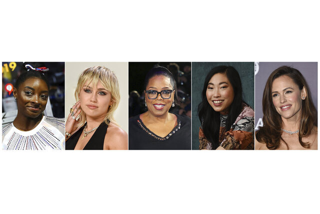 """This combination photo shows, from left, U.S. gymnast Simone Biles, actress-singer Miley Cyrus, media mogul Oprah Winfrey, actress Awkwafina and actress Jennifer Garner, who will participate in the Class of 2020 multi-hour graduation streaming event on Facebook and Instagram on May 15. Winfrey will be the commencement speaker and Awkwafina, Garner, Biles, along with rapper Lil Nas X, will offer words of wisdom to the graduating class. Cyrus will sing her new hit single, """"The Climb.""""  (AP Photo)"""