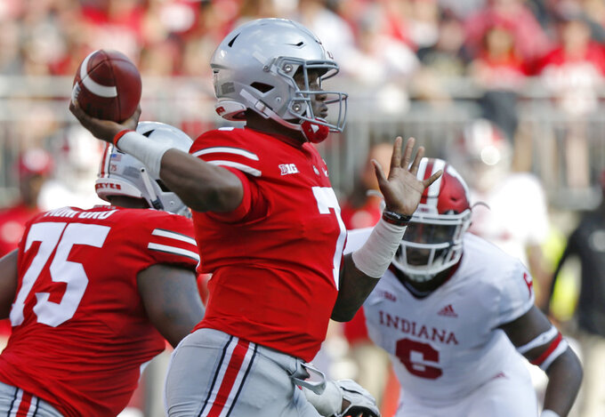 Ohio State quarterback Dwayne Haskins throws a pass against Indiana during the first half of an NCAA college football game Saturday, Oct. 6, 2018, in Columbus, Ohio. (AP Photo/Jay LaPrete)