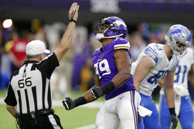 Minnesota Vikings defensive end Danielle Hunter (99) celebrates after sacking Detroit Lions quarterback David Blough during the first half of an NFL football game, Sunday, Dec. 8, 2019, in Minneapolis. (AP Photo/Andy Clayton-King)