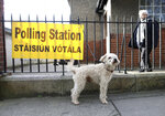 A dog waits outside as voters take to a polling station in North Dublin as voting gets under way in the general election in Dublin, Ireland, Saturday, Feb. 8, 2020. (AP Photo/Peter Morrison)