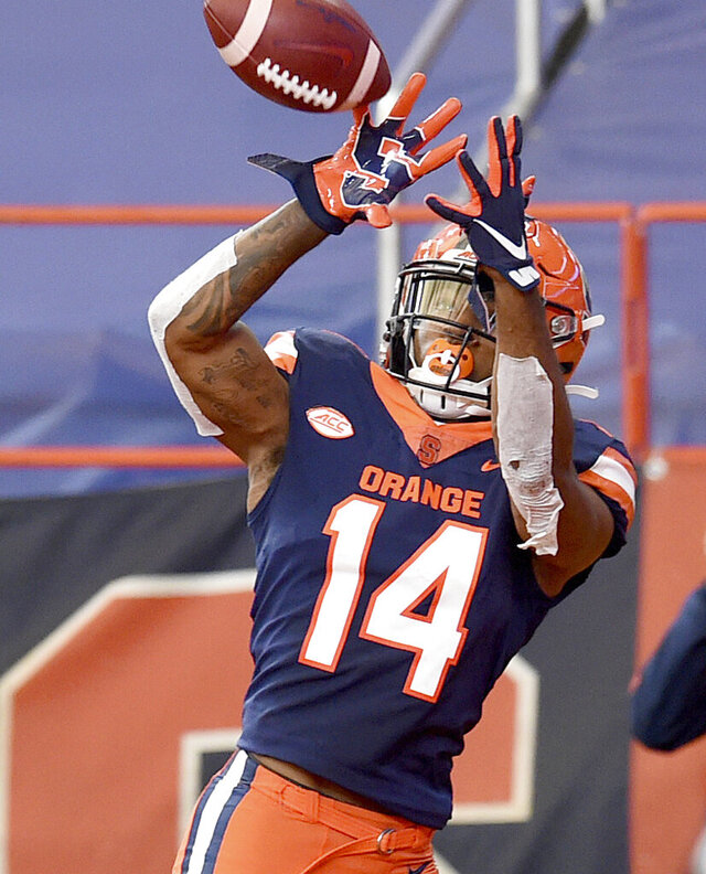 Syracuse wide receiver Anthony Queeley (14) makes touchdown catch in the second half against Liberty during an NCAA college football game on Saturday, Oct 17, 2020, at the Carrier Dome in Syracuse, N.Y.  (Dennis Nett/The Post-Standard via AP)