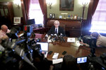 Governor Tony Evers answered reporters questions at the State Capitol Thursday, March 21, 2019 after a Dane County judge has blocked the lame duck laws that Republicans passed in December to limit the power of the governor and attorney general. (Steve Apps/Wisconsin State Journal via AP)