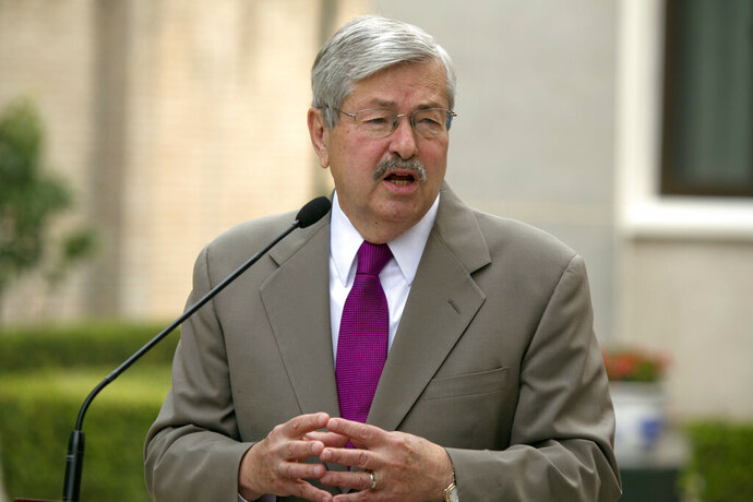 FILE - In this June 28, 2017, file photo, U.S. Ambassador to China Terry Branstad makes comments about pro-democracy activist and Nobel Laureate Liu Xiaobo during a photocall and remarks to journalists at the Ambassador's residence in Beijing. Branstad appears to be leaving his post, based on tweets by Secretary of State Mike Pompeo. Pompeo thanked Branstad for more than three years of service on Twitter on Monday, Sept. 14, 2020. (AP Photo/Ng Han Guan, File)