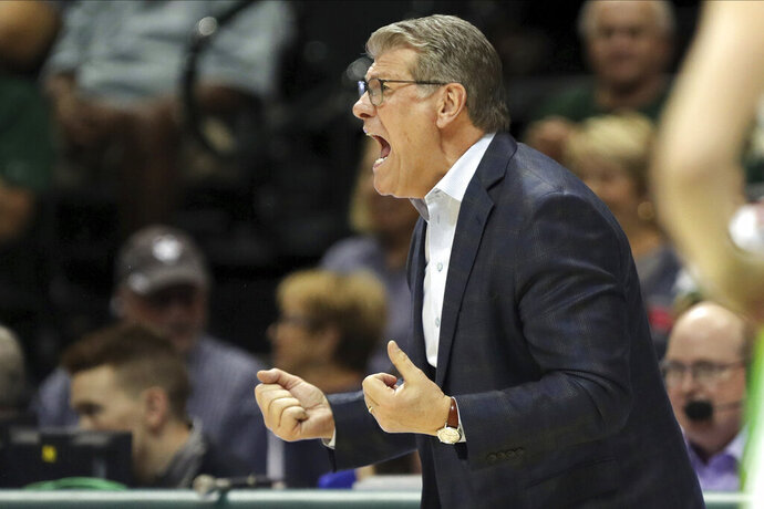 Connecticut head coach Geno Auriemma reacts during the second half of an NCAA college basketball game against South Florida, Sunday, Feb. 16, 2020, in Tampa, Fla. (AP Photo/Mike Carlson)