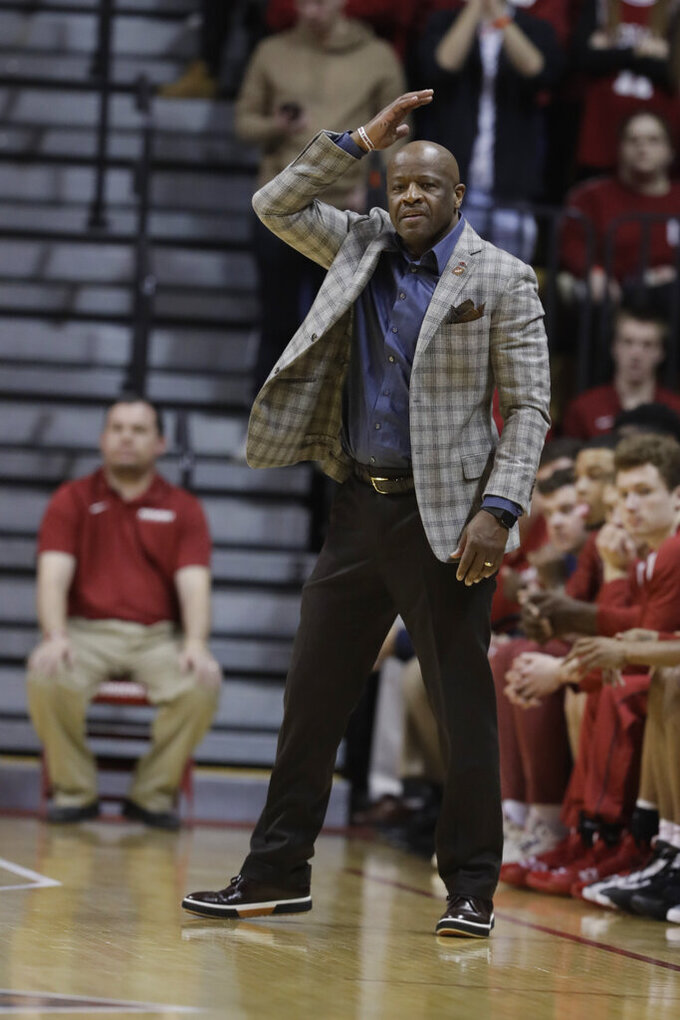 Arkansas head coach Mike Anderson calls a play during the first half against Indiana in the second round of the NIT college basketball tournament, Saturday, March 23, 2019, in Bloomington, Ind. (AP Photo/Darron Cummings)