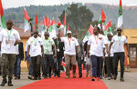 Current president Pierre Nkurunziza, center, arrives at the national conference for the ruling CNDD-FDD party in the rural province of Gitega, Burundi Sunday, Jan. 26, 2020. Burundi's ruling party chose Gen. Evariste Ndayishimiye to be its candidate in the presidential election set for May, signaling that the country's current president Pierre Nkurunziza will now retire after serving three terms. (AP Photo/Berthier Mugiraneza)