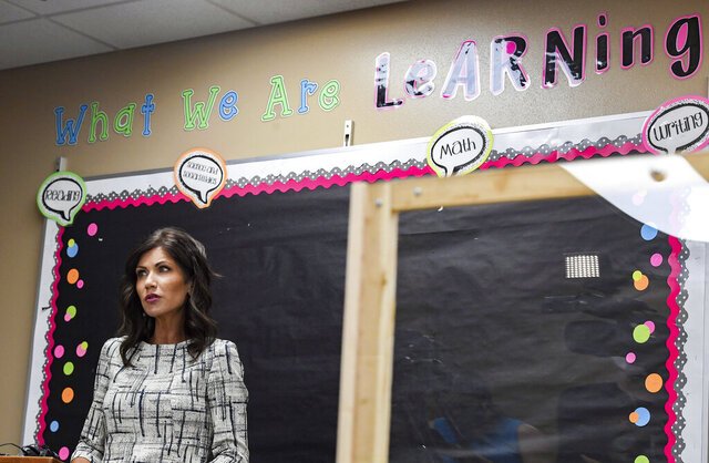 Governor Kristi Noem gives an update on back to school planning on Tuesday, July 28, at John Harris Elementary School in Sioux Falls, S.D.   (Erin Bormett/The Argus Leader via AP)