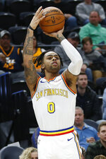 Golden State Warriors guard D'Angelo Russell (0) shoots against the Utah Jazz in the first half during an NBA basketball game Friday, Dec. 13, 2019, in Salt Lake City. (AP Photo/Rick Bowmer)