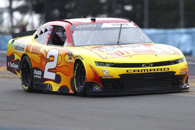 Myatt Snider drives between Turn 1 and the Esses in the NASCAR Xfinity Series auto race at Watkins Glen International in Watkins Glen, N.Y., on Saturday, Aug. 7, 2021. (AP Photo/Joshua Bessex)