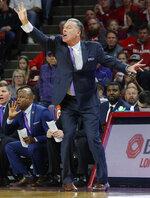TCU head coach Jamie Dixon reacts during the first half of an NCAA college basketball game against Oklahoma in Norman, Okla., Saturday, Jan. 13, 2018. (AP Photo/Garett Fisbeck)