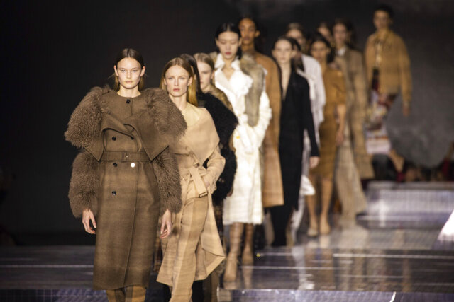 Models wear creations by designer Burberry at the Autumn/Winter 2020 fashion week runway show in London, Monday, Feb. 17, 2020. (Photo by Vianney Le Caer/Invision/AP)
