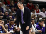 Northwestern head coach Chris Collins reacts as he watches his team during the first half of an NCAA college basketball game in the first round of the Big Ten Conference tournament against Illinois in Chicago, Wednesday, March 13, 2019. (AP Photo/Nam Y. Huh)