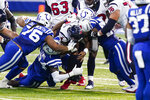 Houston Texans quarterback Deshaun Watson (4) is sacked by Indianapolis Colts defensive tackle Taylor Stallworth (76) and defensive end Justin Houston (50) in the first half of an NFL football game in Indianapolis, Sunday, Dec. 20, 2020. (AP Photo/Darron Cummings)
