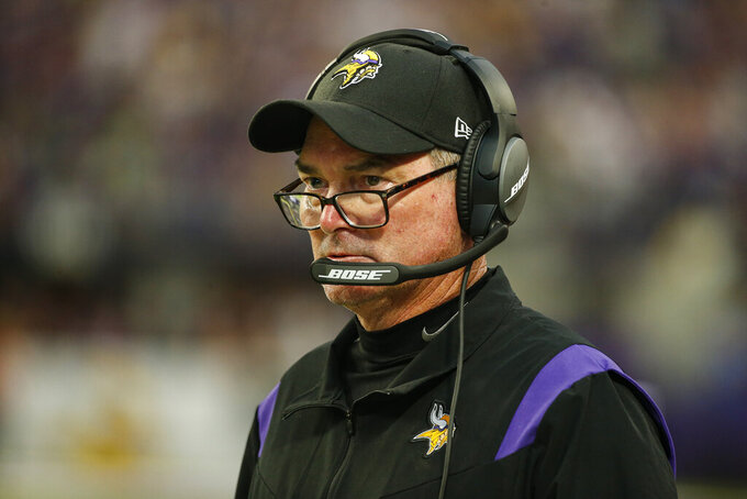 Minnesota Vikings head coach Mike Zimmer stands on the sideline in the second half of an NFL football game against the Seattle Seahawks in Minneapolis, Sunday, Sept. 26, 2021. (AP Photo/Bruce Kluckhohn)