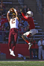 Minnesota defensive back Phillip Howard (2) intercepts a pass intended for Rutgers wide receiver Shameen Jones (15) during the first half of an NCAA college football game Saturday, Oct. 19, 2019, in Piscataway, N.J. (AP Photo/Sarah Stier)