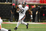 FILE - In this Oct. 26, 2019, file photo, Virginia wide receiver Joe Reed (2) runs against Louisville during the first half of an NCAA college football game in Louisville, Ky. Reed was selected to The Associated Press All-Atlantic Coast Conference football team, Tuesday, Dec. 10, 2019. (AP Photo/Timothy D. Easley, File)