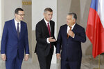 Prime Ministers of Poland Mateusz Morawiecki, left, Czech Republic Andrej Babis, center, and Hungary Viktor Orban, right, during the V4 summit at the Prague Castle, Czech Republic, Thursday, Sept. 12, 2019. (AP Photo/Petr David Josek)