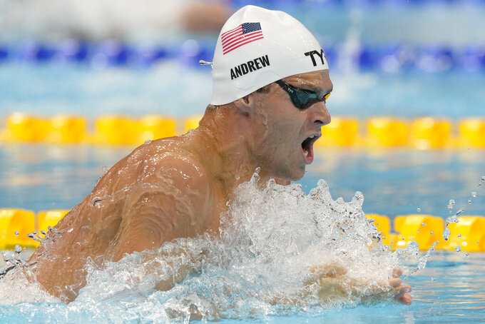 Michael Andrew of the the United States swims in a heat of the men's 200-meter individual medley at the 2020 Summer Olympics, Wednesday, July 28, 2021, in Tokyo, Japan. (AP Photo/Martin Meissner)