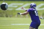 Minnesota Vikings center and first round draft choice Garrett Bradbury readies to catch a ball during the NFL football team's training camp which opened with rookies and select veterans Tuesday July 23, 2019, in Eagan, Minn. (AP Photo/Jim Mone)