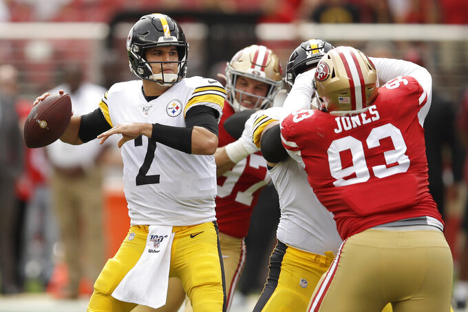 Pittsburgh Steelers quarterback Mason Rudolph (2) passes against the San Francisco 49ers during the first half of an NFL football game in Santa Clara, Calif., Sunday, Sept. 22, 2019. (AP Photo/Ben Margot)
