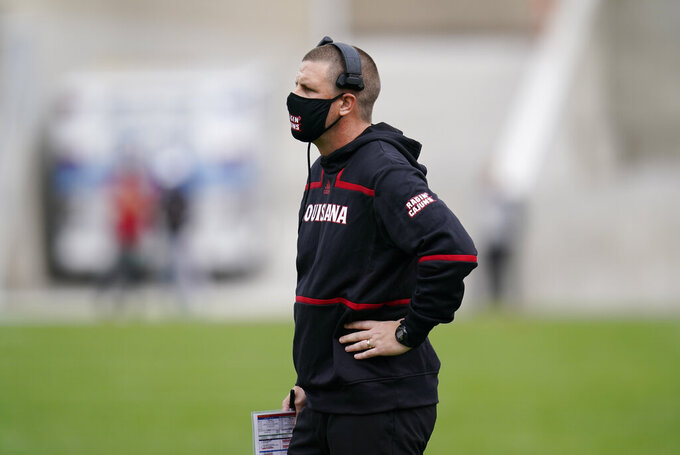 Louisiana-Lafayette head coach Billy Napier watches from the sideline during the first half of an NCAA college football game against Iowa State, Saturday, Sept. 12, 2020, in Ames, Iowa. (AP Photo/Charlie Neibergall)