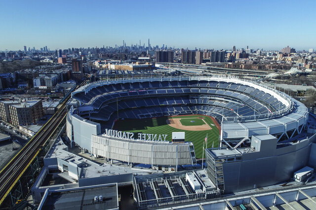 Yankee Stadium remains closed due to COVID-19 restrictions, March 26, 2020, in the Bronx borough of New York. (John Woike/Samara Media via AP)