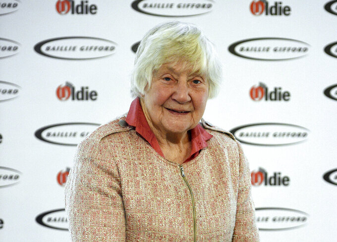 """FILE - In this file photo dated Jan. 30, 2018, Shirley Williams attending The Oldie of the Year Awards, at Simpsons in the Strand, central London.  The trailblazing female lawmaker Shirley Williams who tried to reshape a British political system dominated by two big parties, """"died peacefully in the early hours of Monday"""" aged 90, according to information released by her Liberal Democrats party. (Kirsty O'Connor/PA via AP)"""