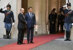Russian President Vladimir Putin is welcomed at the Chigi palace by Italian Premier Giuseppe Conte, in Rome, Thursday, July 4, 2019. Putin emphasized historically strong ties with Italy during a one-day visit to Rome that included a meeting with Pope Francis. (Alexei Druzhinin, Sputnik, Kremlin Pool Photo via AP)