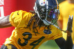 Pittsburgh Steelers strong safety Terrell Edmunds (34) makes a move past a blocking dummy during an NFL football training camp practice in Latrobe, Pa., Saturday, July 27, 2019. (AP Photo/Keith Srakocic)