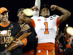 Clemson's Trayvon Mullen celebrates after the NCAA college football playoff championship game against Alabama, Monday, Jan. 7, 2019, in Santa Clara, Calif. Clemson beat Alabama 44-16. (AP Photo/David J. Phillip)