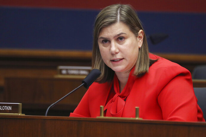 Rep. Elissa Slotkin, D-Mich., questions witnesses during a House Committee on Homeland Security hearing on 'worldwide threats to the homeland', Thursday, Sept. 17, 2020 on Capitol Hill Washington. (Chip Somodevilla/Pool via AP)