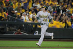 Oakland Athletics' Matt Chapman runs the bases after hitting a two-run home run during the second inning of the team's baseball game against the Seattle Mariners, Thursday, Sept. 26, 2019, in Seattle. (AP Photo/Ted S. Warren)