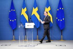 Sweden's Prime Minister Stefan Lofven during a media conference after the no-confidence voting in the Swedish Parliment, Stockholm, Monday June 21, 2021.  Stefan Lofven, Sweden's Social Democratic prime minister since 2014, lost a confidence vote in parliament Monday. (Anders Wiklund / TT via AP)