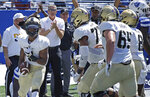 Army running back A.J. Howard, left, celebrates after scoring a touchdown against Georgia State in the first half of an NCAA football game Saturday, Sept. 4, 2021, in Atlanta. (AP Photo/Ben Margot)