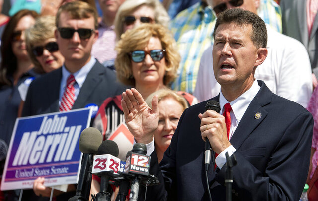 FILE - In this Tuesday June 25 , 2019, file photo, Secretary of State John Merrill announces that he is running for the U.S. Senate during a news conference at the State Capital Building in Montgomery, Ala. In a statement posted on his Facebook page Sunday, Dec. 1, 2019, Merrill announced he has suspended his campaign for the U.S. Senate, citing a crowded Republican race that recently grew to include former Attorney General Jeff Sessions. (Mickey Welsh/Montgomery Advertiser via AP, File)